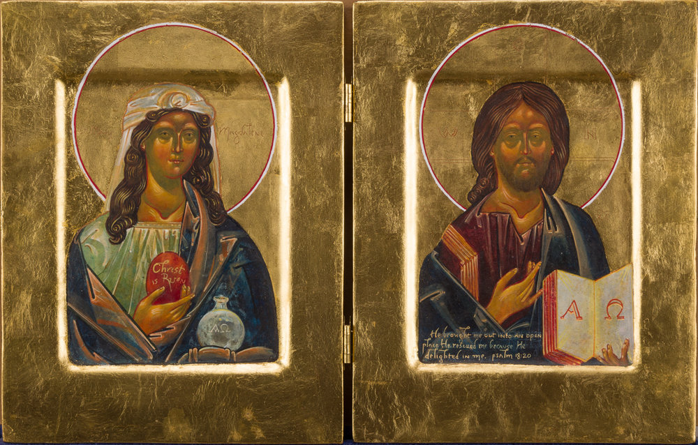 Icon of Mary Magdalene and Jesus. Private collection.