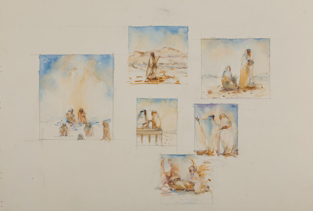 Watercolor of the Temptation of Christ,  available.
