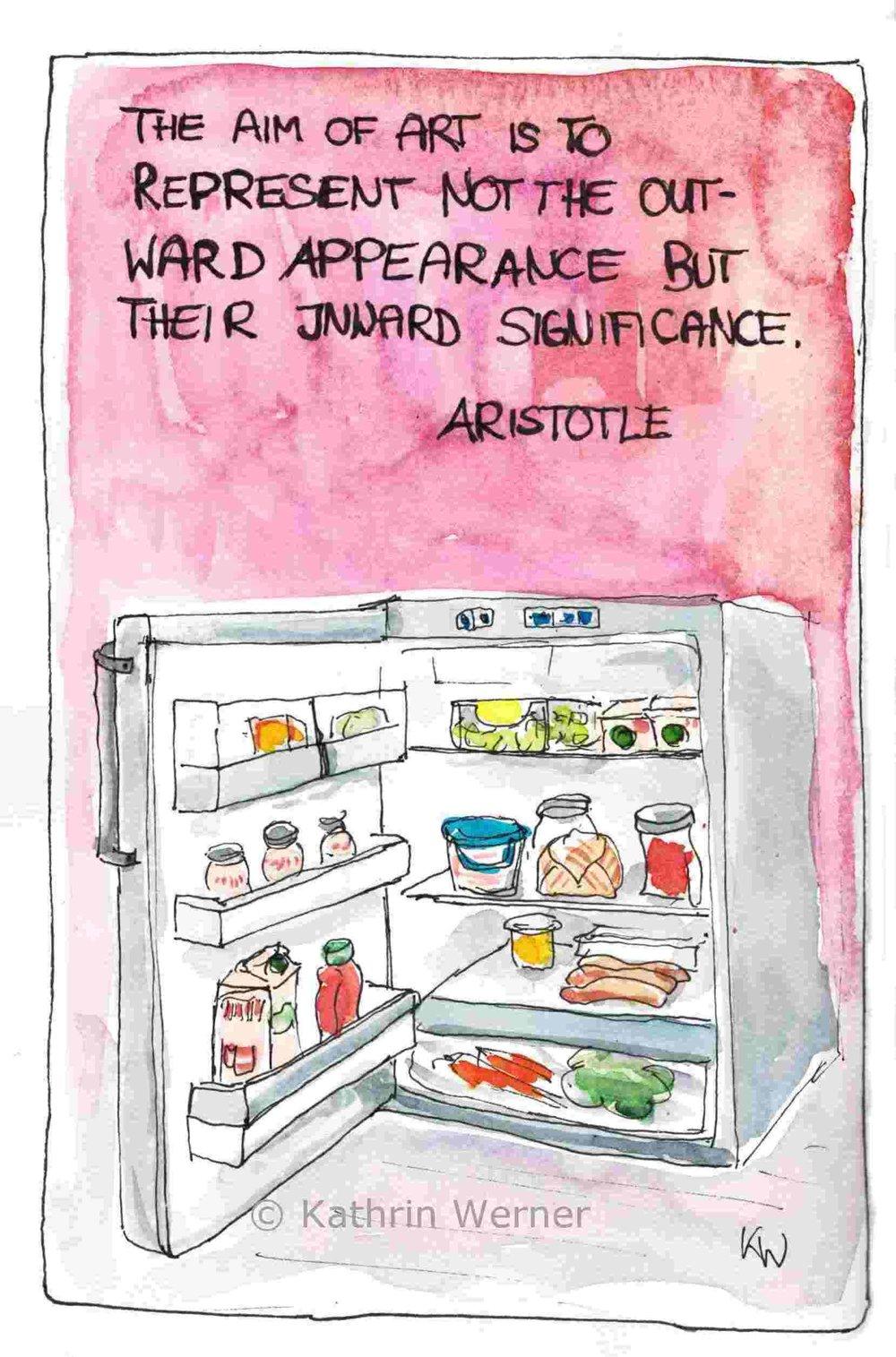 """Aristotle is right: It is important what is IN the fridge. Deutsch: Aristoteles: """"Das Ansinnen der Kunst ist, nicht das äußere Erscheinungsbild sondern die innere Bedeutung zu zeigen."""" Wie beim Kühlschrank: was drinnen ist, zählt..."""