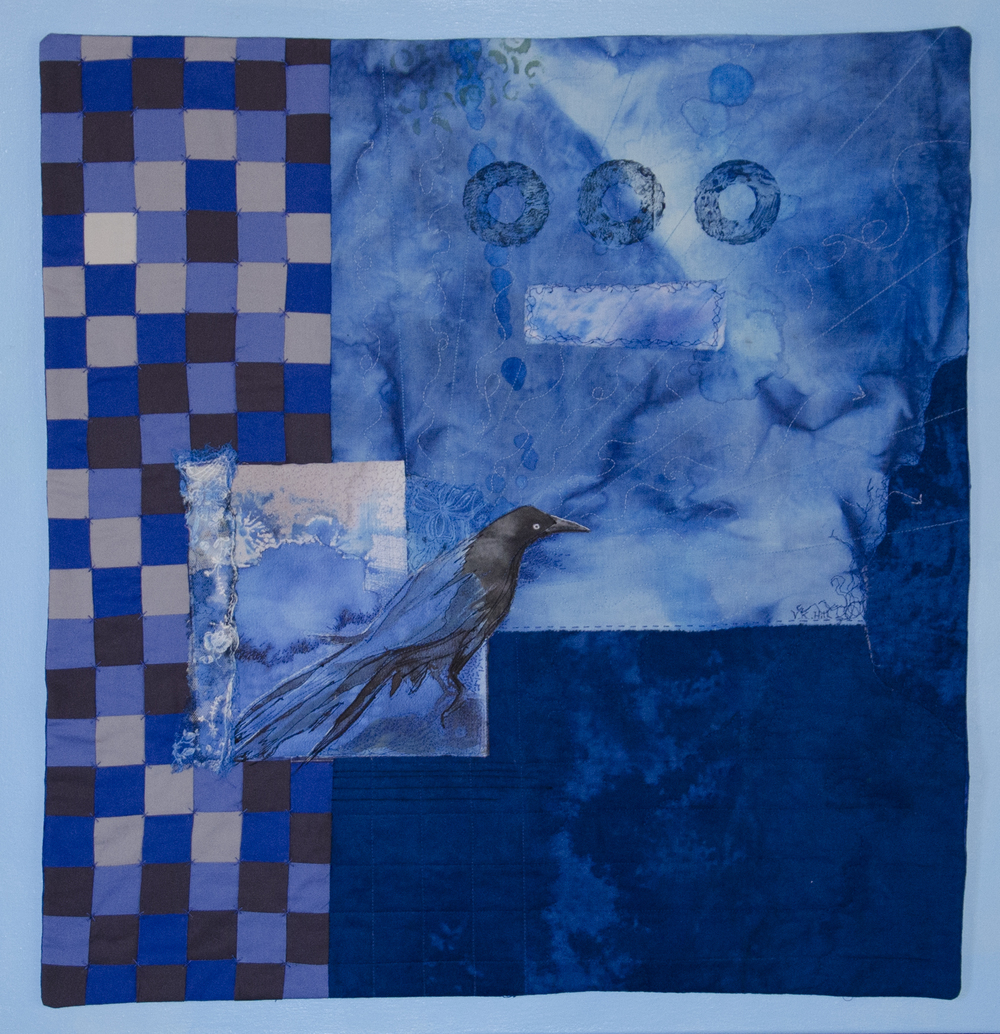 Blue Monday-quilted, dyed fabric mounted on canvas. 2012