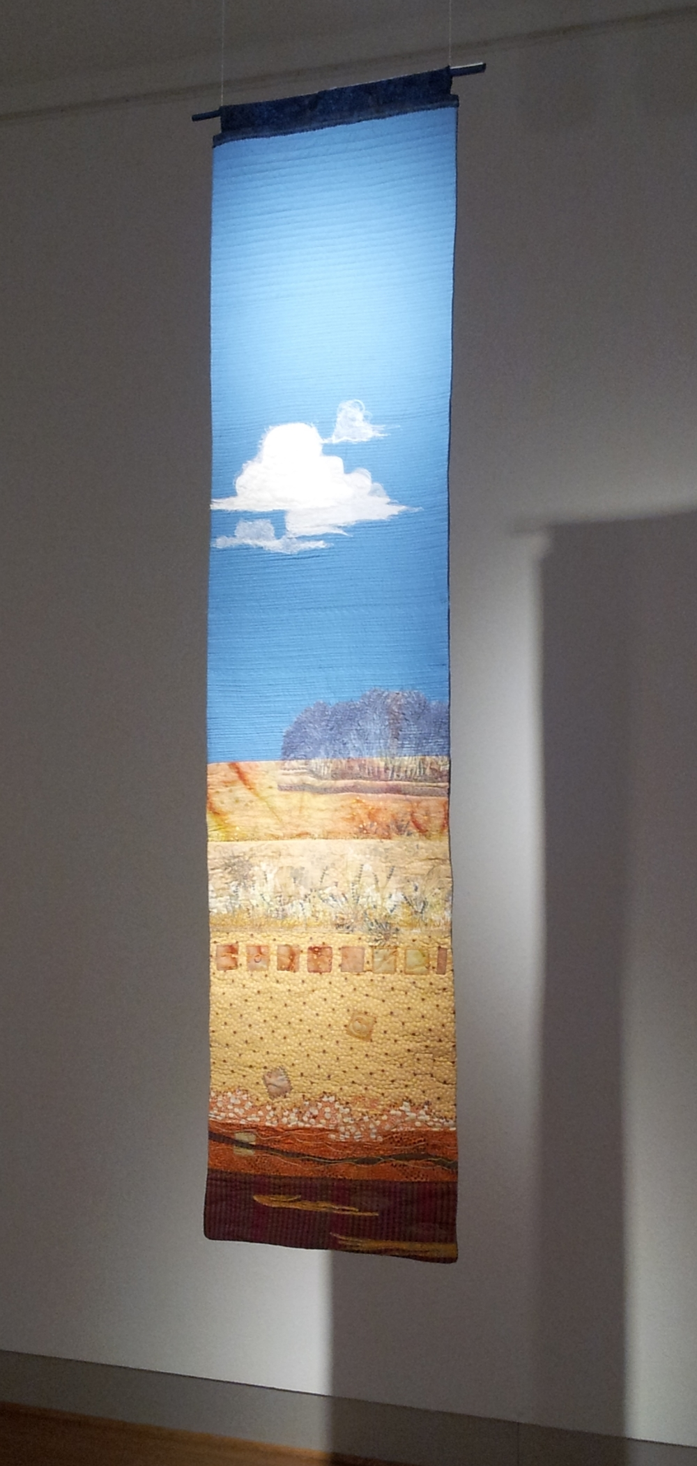 Open Spaces-quilting, embroidery, beads, printing, photography on cotton. 2012