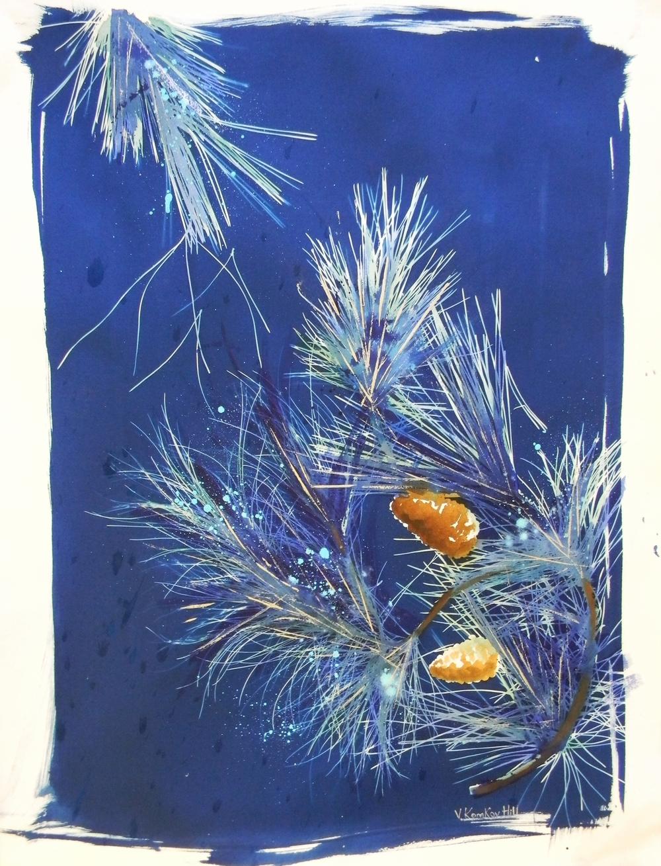 Winter Pines-acrylic, cyanotype on watercolour paper. 2014