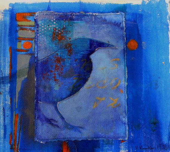 "Secret Language-acrylic on watercolour paper.  18"" x 21"". 2015"