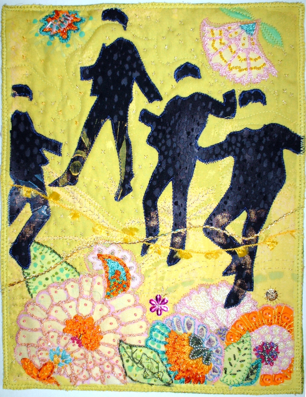 Fab Four. Quilting, embroidery, bead work.  Featured in Quilting Arts magazine April 2009