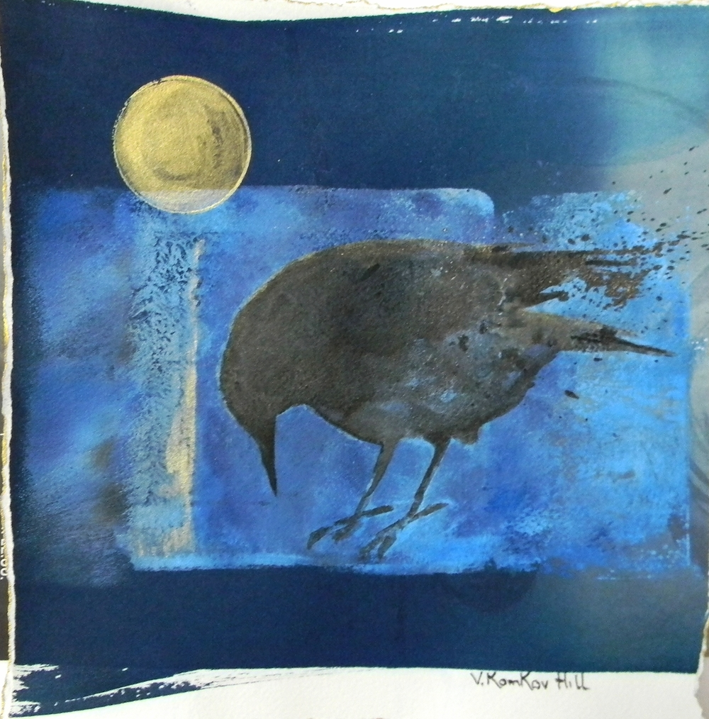 Crow and Moon-acrylic on watercolour paper. 2016