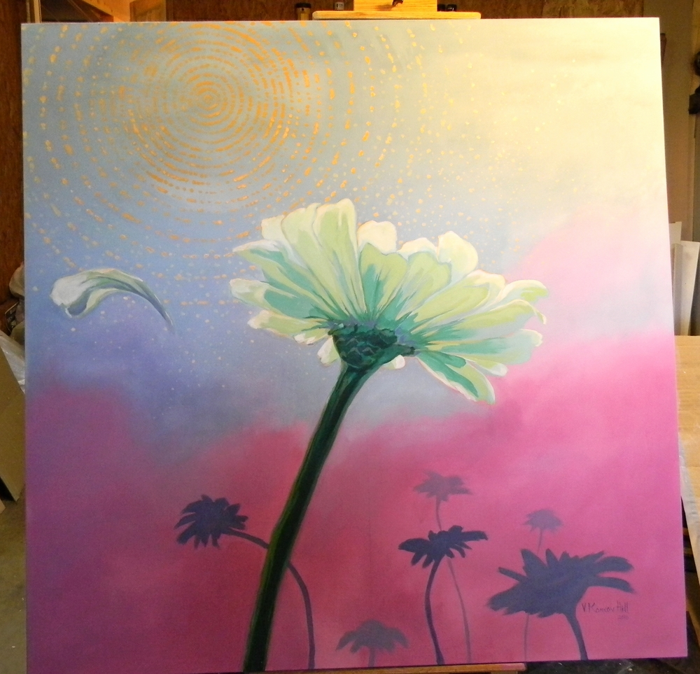 Reaching-acrylic on stretched canvas.  2016. Commissioned by Ellna Henry.
