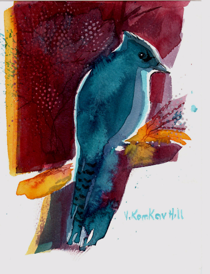 """Blue Jay on Branch-acrylic on watercolour paper. 5""""x 7"""". 2014"""