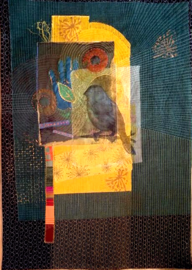 """Sunrise Song-quilting, embroidery, printing on cotton.  22"""" x 30"""". 2013"""