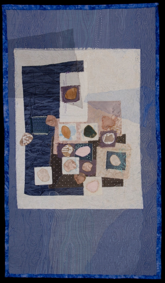 Stones From the River-quilting, embroidery, bead work on cotton and linen, layered with tulle net. 2012