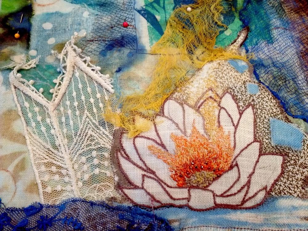 Shanti-close up detail of lotus flower while in progress.