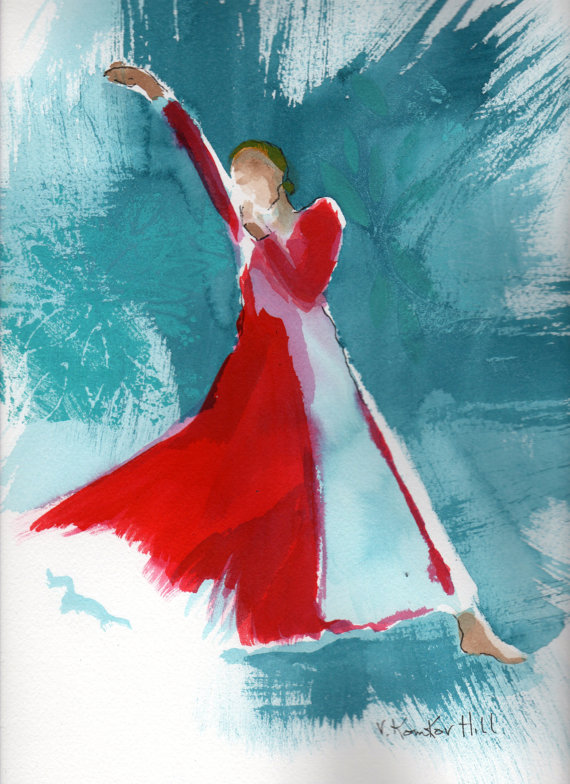 """Dancer in Red-acrylic on watercolour paper. 16"""" x 20"""". 2014"""
