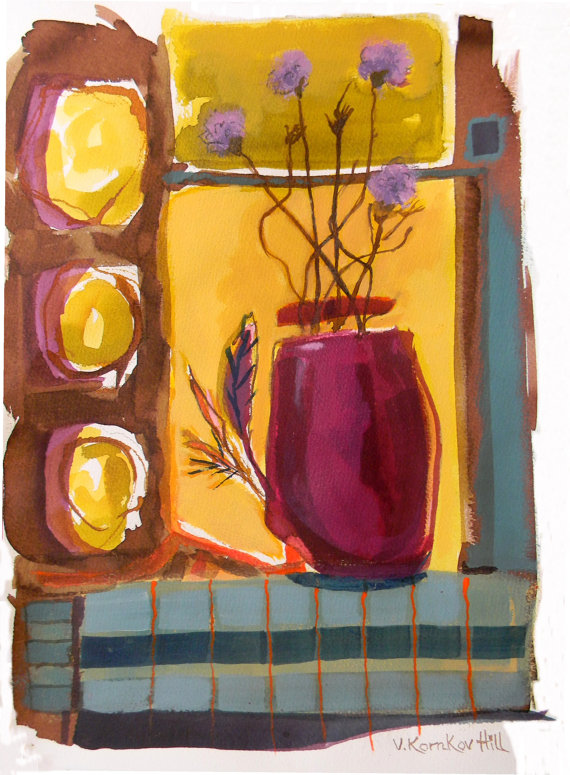 Wildflowers in Vase-acrylic on watercolour paper. 2014
