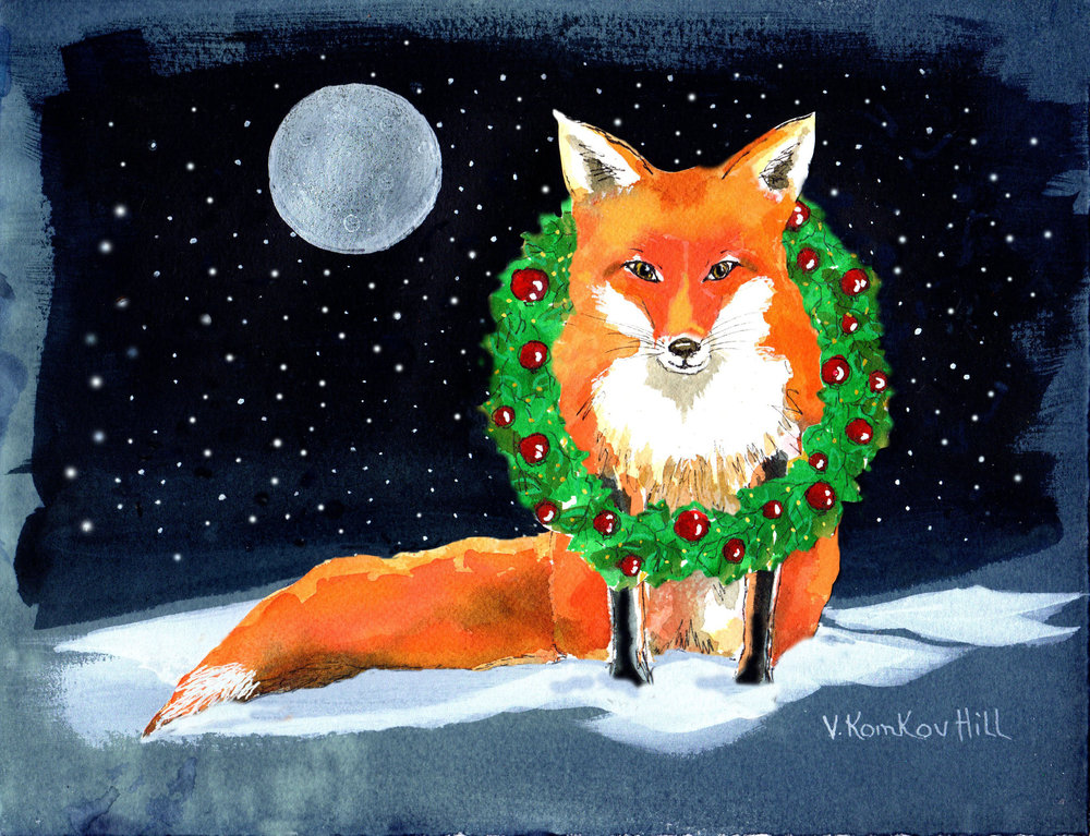"Fox Christmas Card (2016) acrylic, cyanotype, collage. 8"" x 10"""