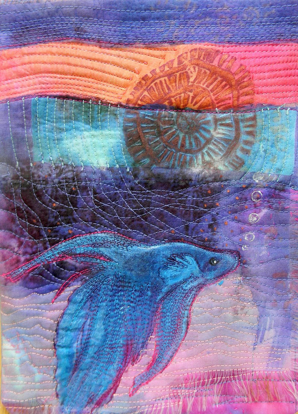 """Blue Betta- (2017) quilting, ice dyeing, acrylic, on cotton and silk. 5"""" x 7"""""""