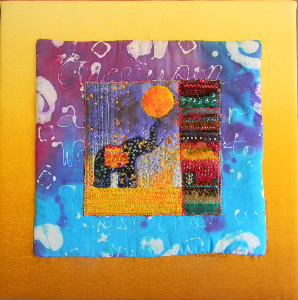 """Silk Road (2016) quilting, embroidery, dyeing, on solk and cotton. 16"""" x 16"""""""