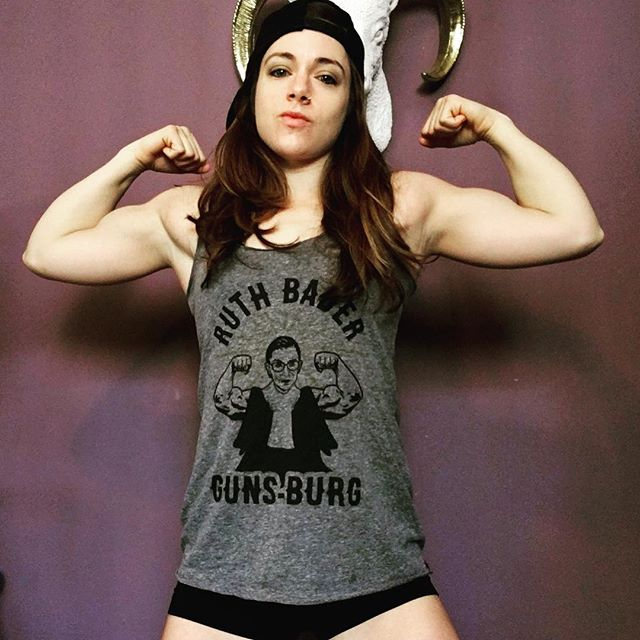 """Happy #flexfriday / #friyay / #friday !  Love, kristin & Ruth """"No One's Bad[d]er Gunsburg"""" PS is it a coincidence this Supreme Court judge kicks ass at both justice AND #pushups ?  Fuck no. PPS thank you, @jackie_smash_ for the badass shirt! ——————— #personaltrainer #fitness #flex #strongissexy #strongwomen #strongisthenewskinny #bicep #abs #sixpack #girlswhokissgirls #lesbian #chest #gains #instagood #losangeles #gym #gymlife"""
