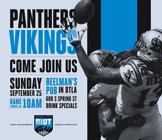 3 days away! Join us at @beelmansdtla for Panthers football! We're the largest Panthers meetup in LA. This Sunday from 10am-1pm. RSVP on Facebook #keeppounding #doyouriot