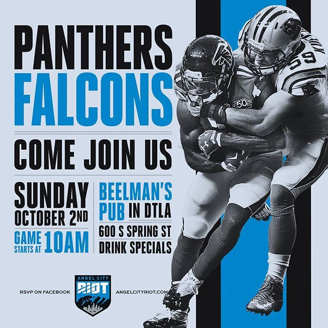 Huge game this week! Join other Panthers fans at Beelmans this Sunday at 10. #panthers #keeppounding #roaringriot #nfl #losangeles