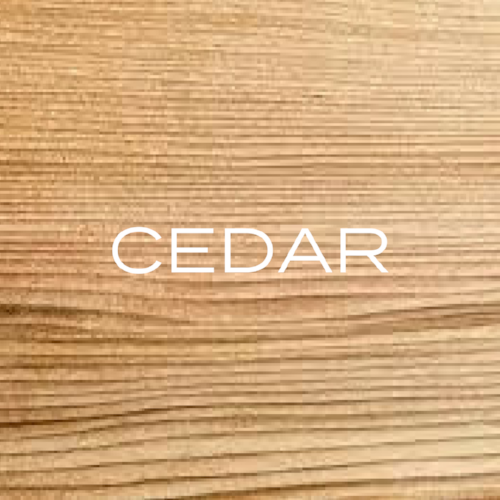 You generally find Western Red Cedar variety is most common, it has a reddish colour and a straight grain and has a slightly aromatic smell.