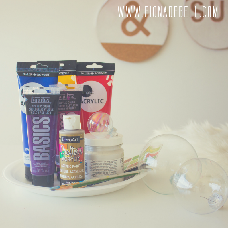 The Products you will need to create hand painted baubles. | fionadebell.com
