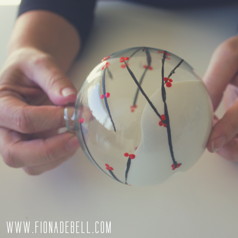 Swirl paint inside an ornament to create shimmer. | fionadebell.com