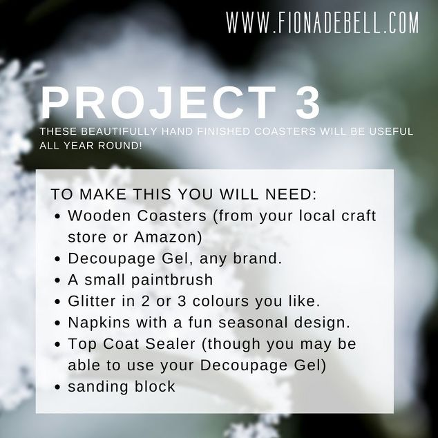 A list of all the materials you need to create hand made coasters.  |  fionadebell.com