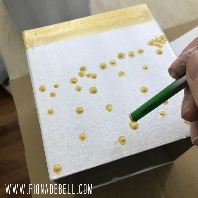 More gold dots to create a pattern with paint.  | fionadebell.com