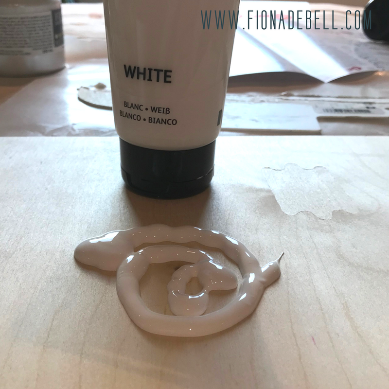 Simple white acrylic craft paint on wooden canvases.  |  fionadebell.com