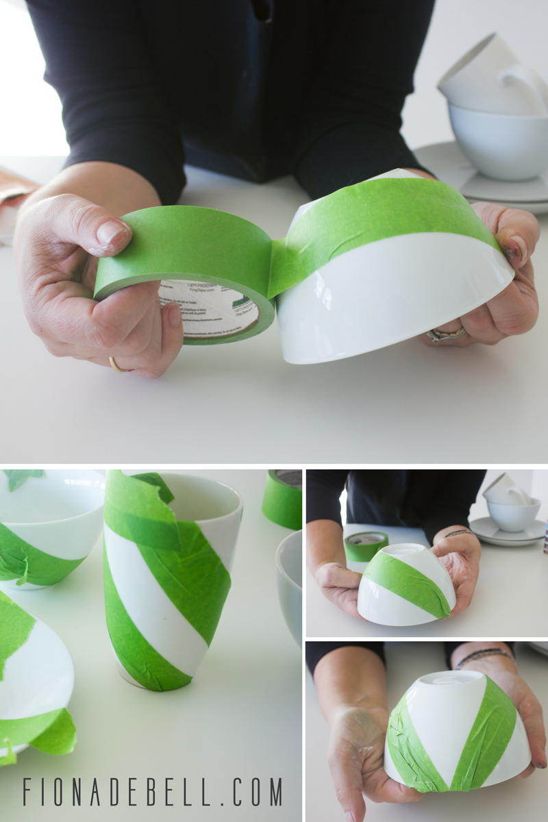 Apply Frog Tape to your china.  |  fionadebell.com