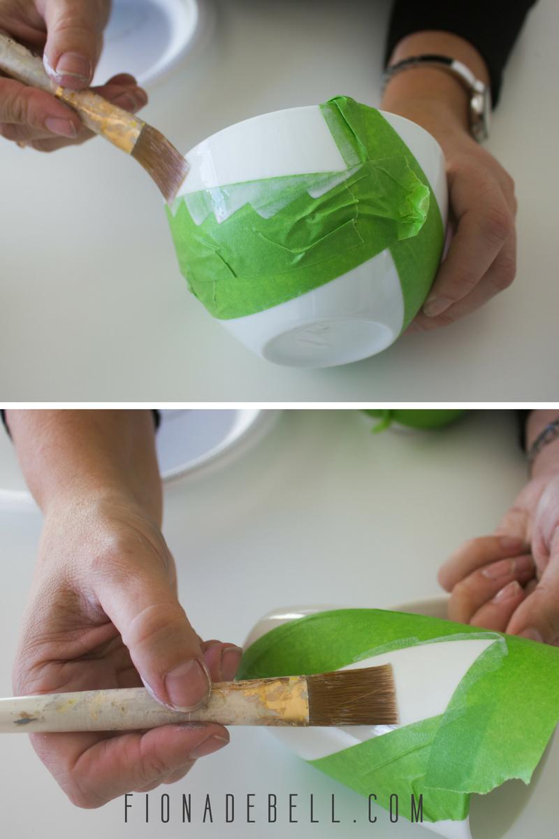 Apply glue to the china. | fionadebell.com