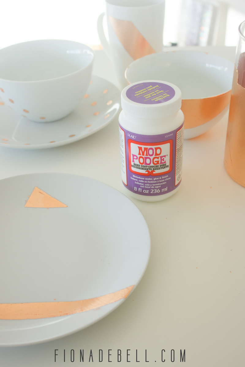 Mod Podge with the copper leaf china.  |  fionadebell.com
