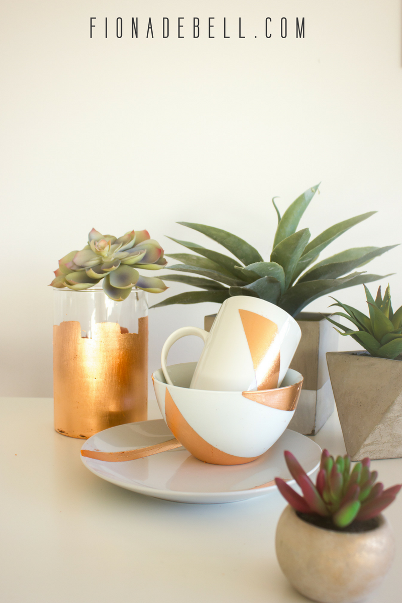 Beautiful white china decorated with copper leaf.  |  fionadebell.com