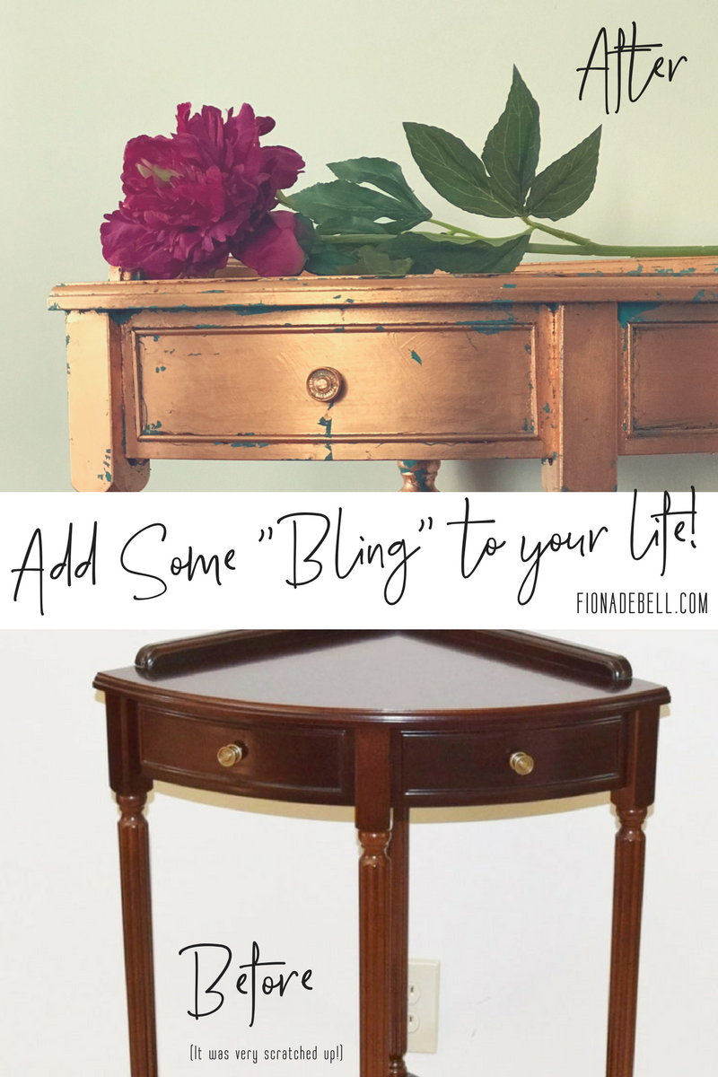 Before and After of an occasional table with copper leaf applied.  |  fionadebell.com