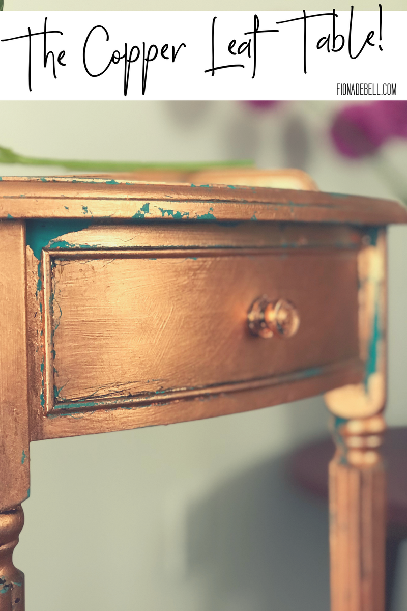 Beautiful finish on a little table using copper leaf.  |  fionadebell.com
