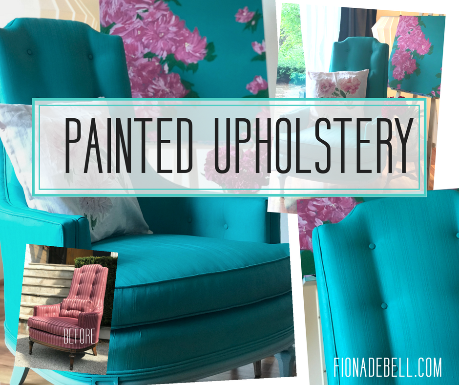 Chair hand painted on the upholstery using dixie belle paint.  |  fionadebell.com