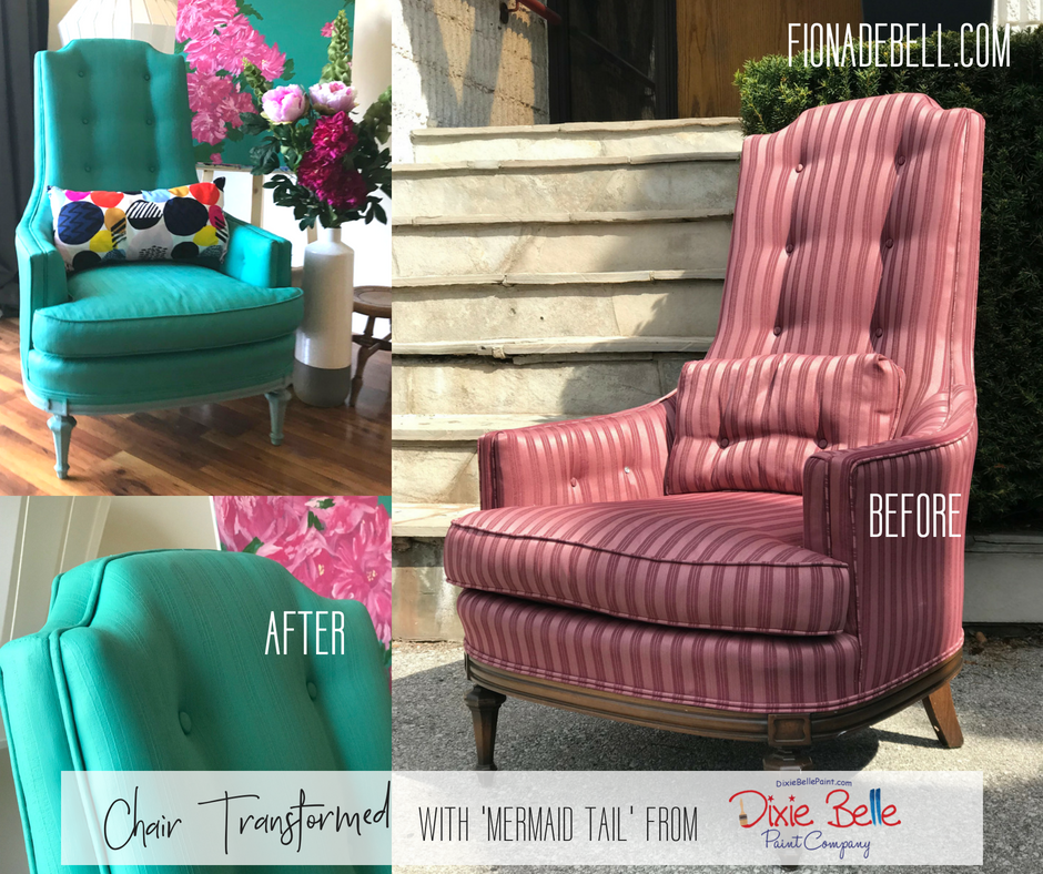 Before and after of a chair painted by Fiona in Dixie Belle color Mermaid Tail.  |  fionadebell.com