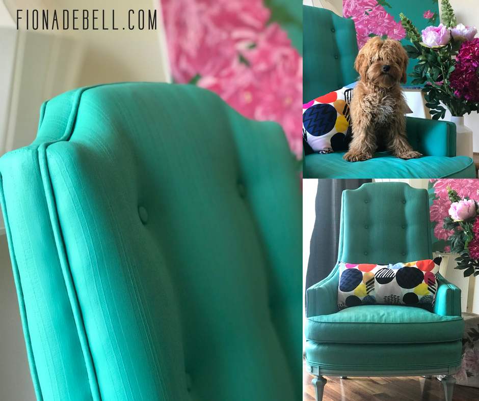 Images of a fun transformation of an upholstered chair using Dixie Belle Chalk Mineral Paint.  |  fionadebell.com