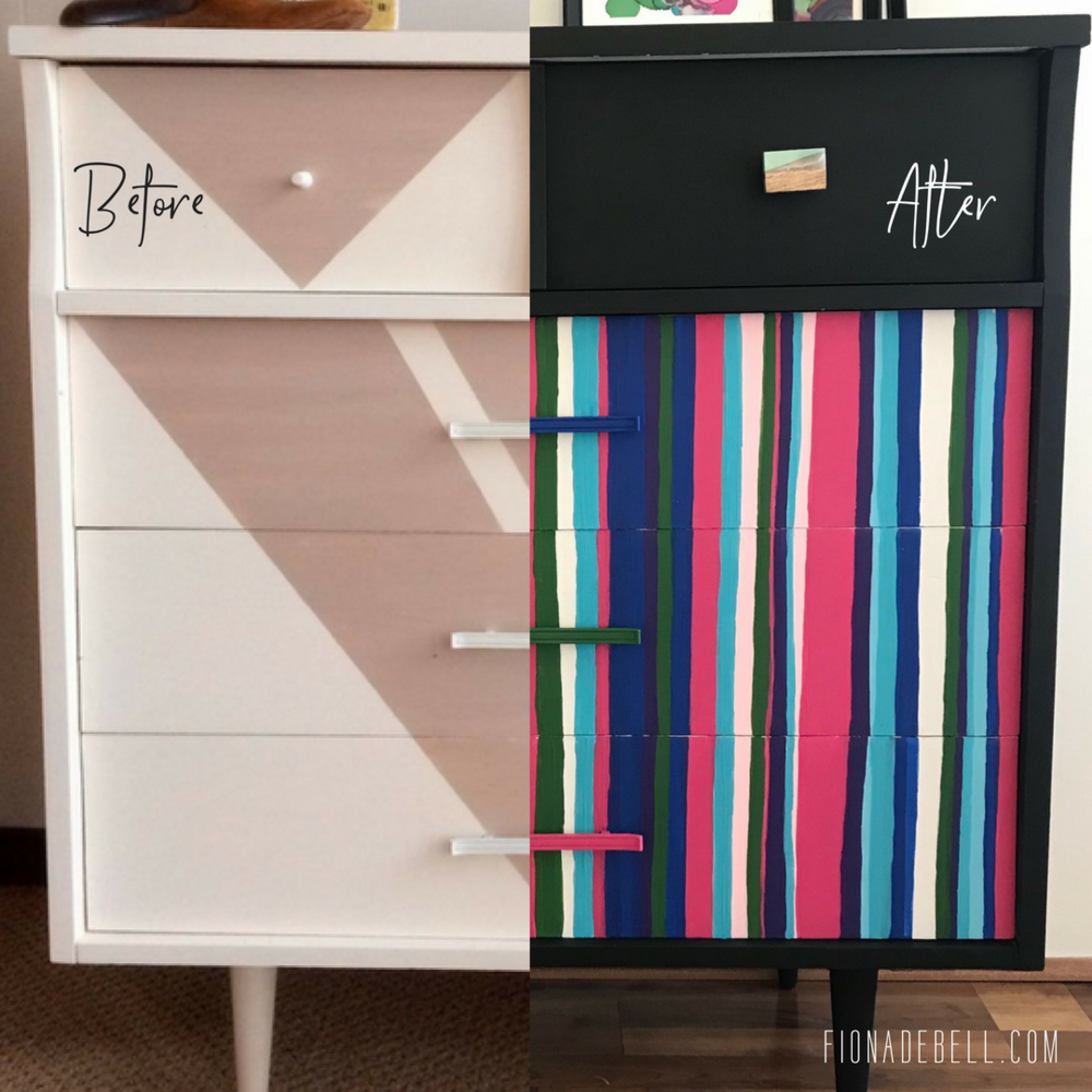 Before and after of a striped MCM dresser. | fionadebell.com