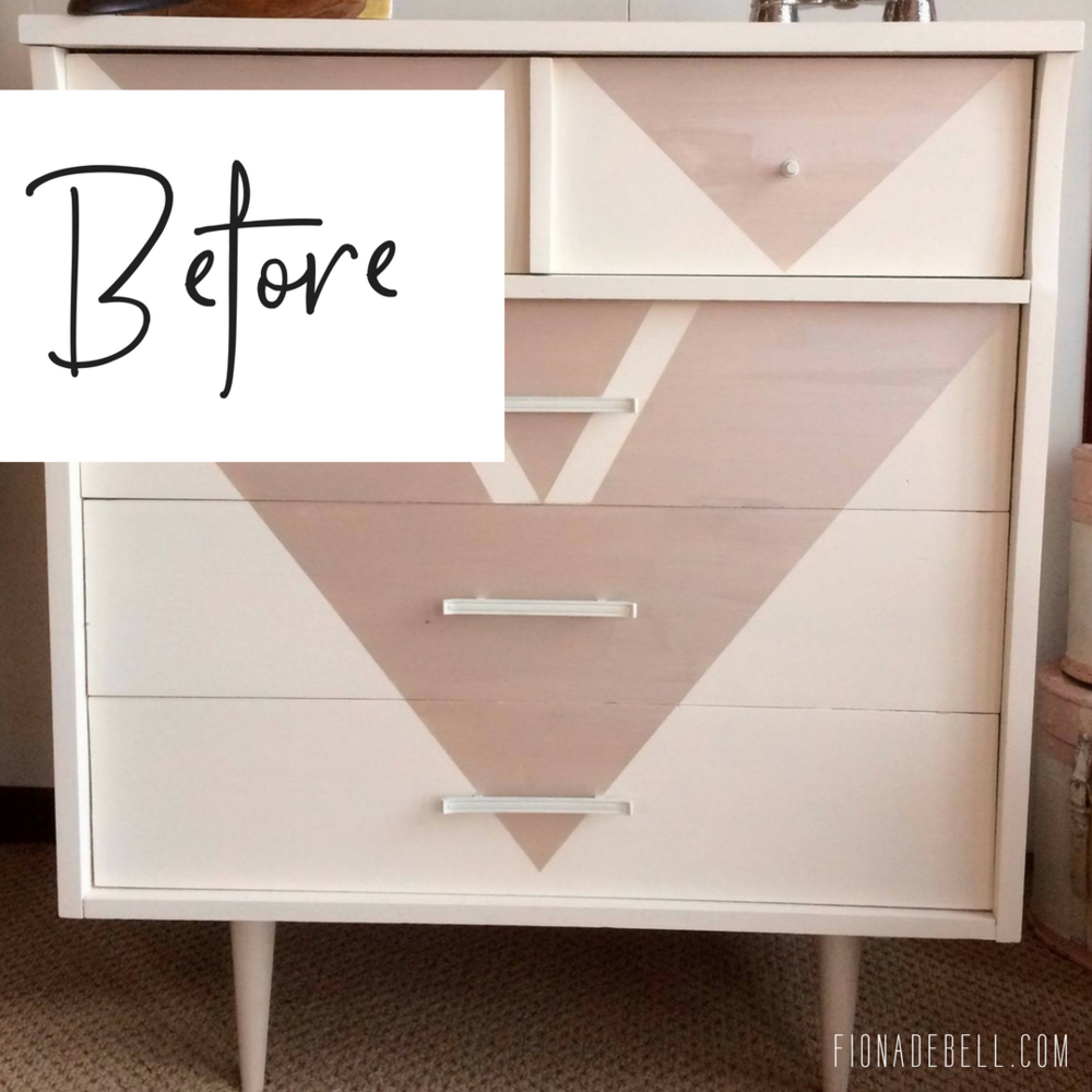 Before of a painted laminate MCM dresser. fionadebell.com