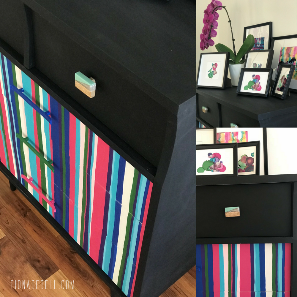 Pretty Painted dresser with stripes by Fiona Debell. | fionadebell.com