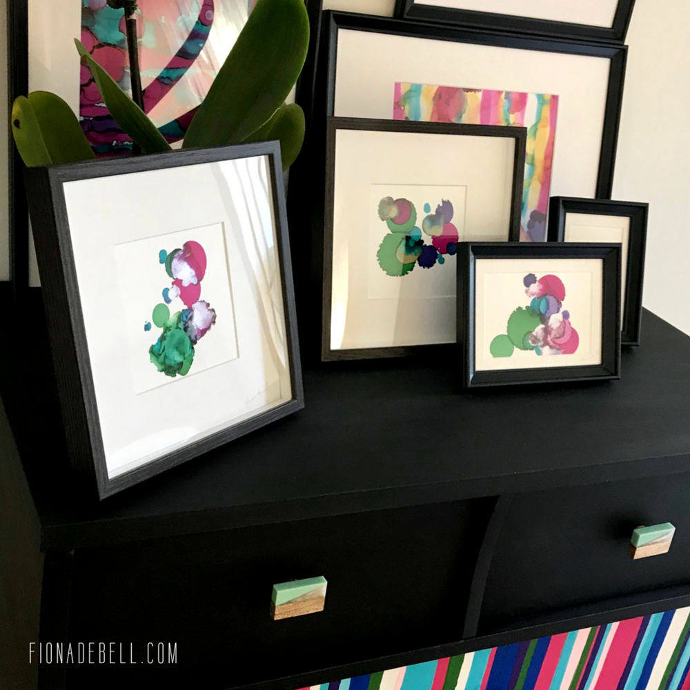 Fiona Debell shows her mini artworks on a dresser display. | fionadebell.com