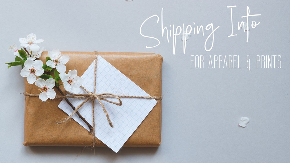 Information on shipping apparel and printed items.  |  fionadebell.com