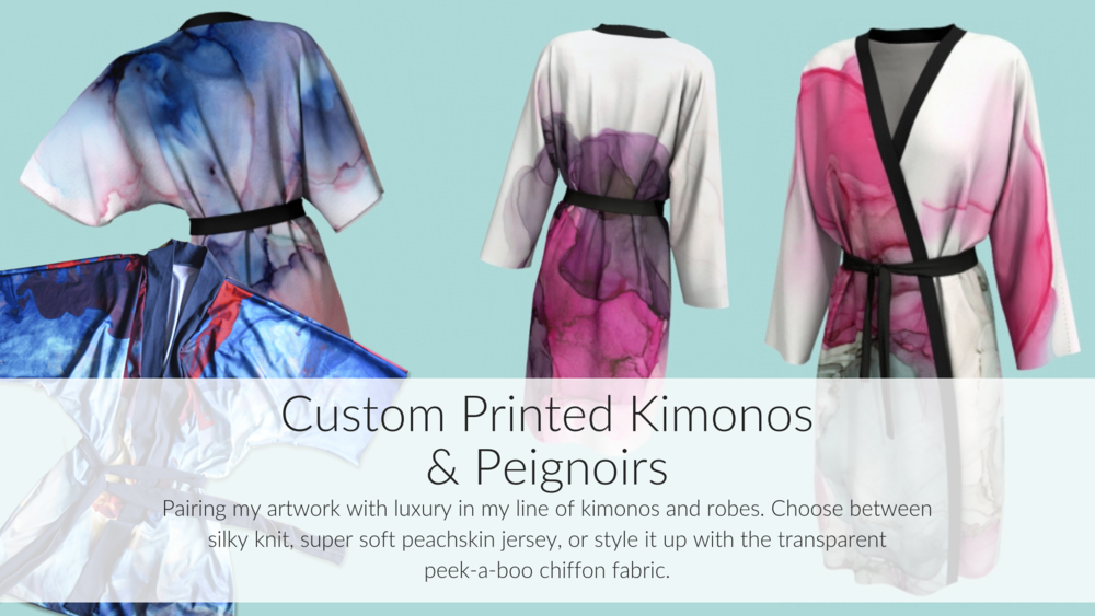 Pairing my artwork with luxury in my line of kimonos and robes. | fionadebell.com