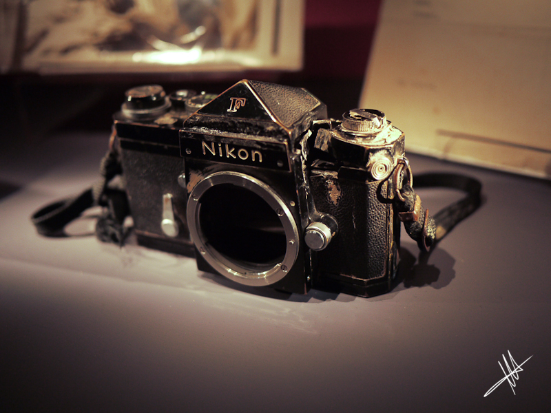 British photojournalist Don McCullin's Nikon F, which famously saved his life in a Vietnamese ambush near Phnom Penh. Image credit:  Martin Sharman