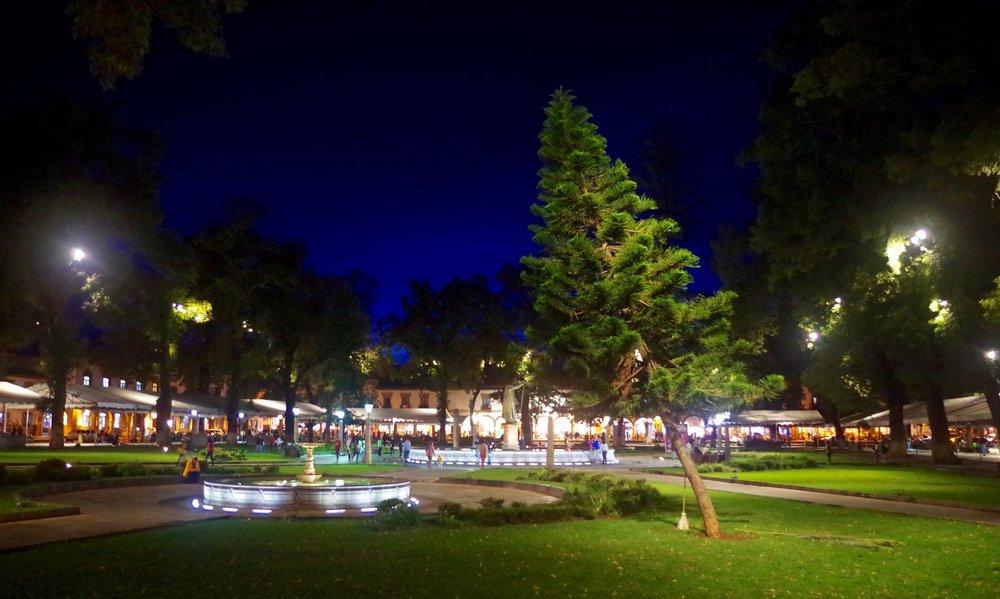 Plaza Grande at dusk.