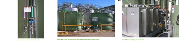 Examples of dedicated caustic piping for caustic reuse, caustic storage tanks for using caustic multiple times and a mobile tank washing unit capable of reusing caustic, citric acid and rinse water from tank cleanings. Source:  Winery Wastewater Management & Recycling Operational Guidelines  -   Australia's Grape and Wine Research Development Corporation