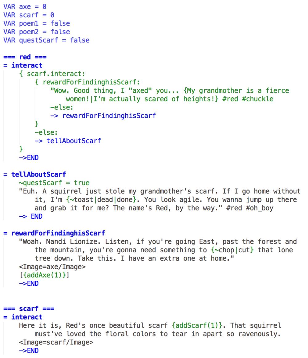 Exemple de fichier Ink pour un NPC Quest Giver