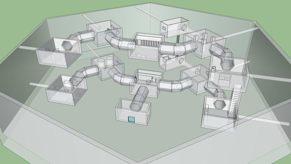 Prey (2017) - Document de Level Design pour une mission facultative dans un DLC fictif pour le jeu Prey (Arkane Studios). Modèle 3D fait dans SketchUp. Document en anglais.