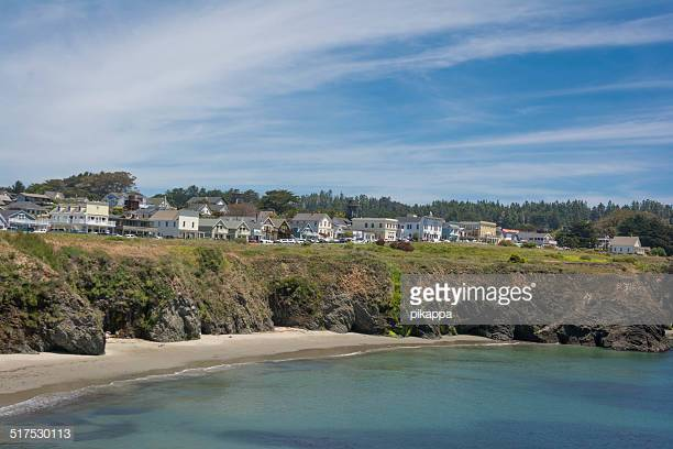 Mendocino Village above a peaceful cove on a sunny day