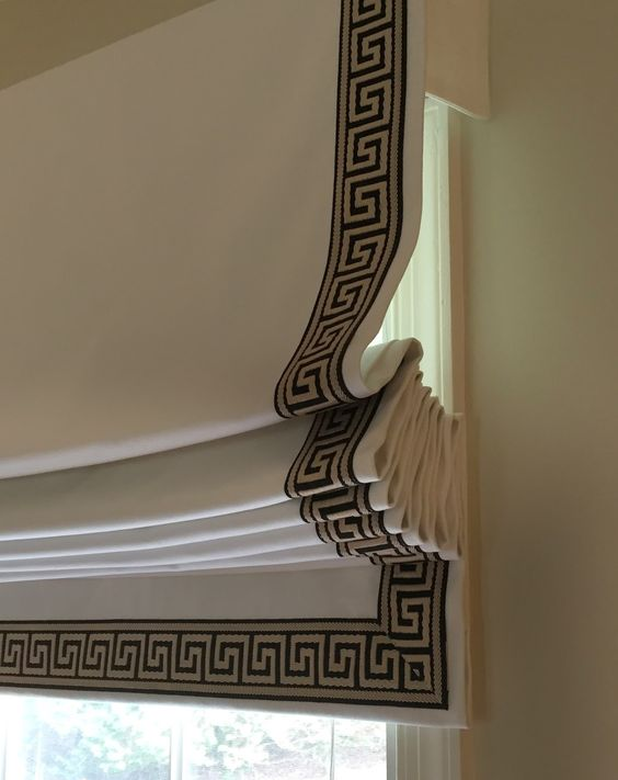 Greek Key Ribbon Roman Shades